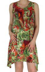 Robe Estivale mi-longue à l'imprimé Exotique Sophie Verte 282906