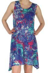 Robe Estivale mi-longue Bleue à l'imprimé Exotique Sophie 282909