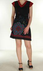 Robe été col V Noir et rouge Makii 299856
