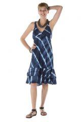 Robe été femme courte originale bleue col V Ysalis 288164