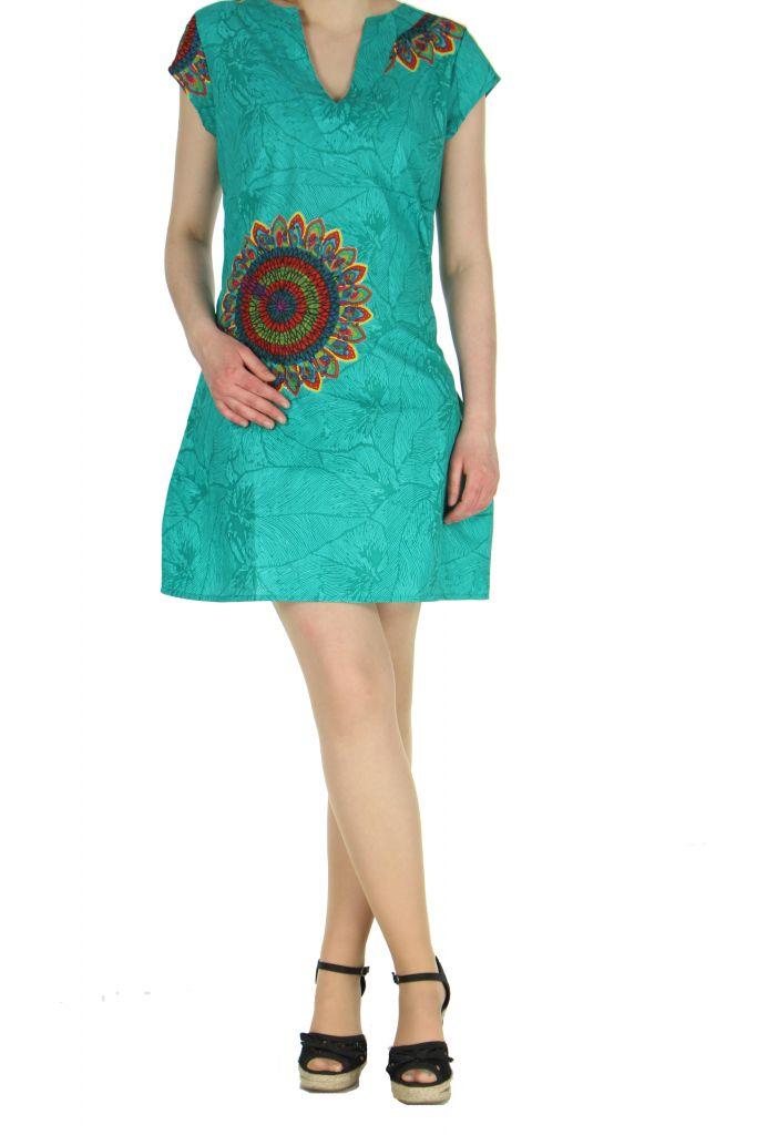 Robe ethnique à col en V turquoise Blinda 269702