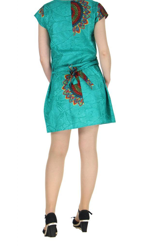 Robe ethnique à col en V turquoise Blinda