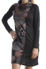 Robe ethnique à col large avec imprimés tendances Noir Kylian 302545