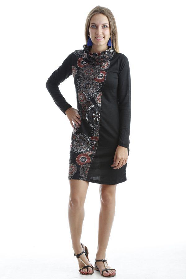 Robe ethnique à col large avec imprimés tendances Noir Kylian 302546