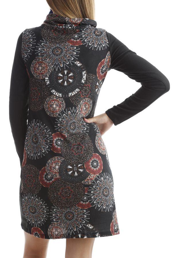 Robe ethnique à col large avec imprimés tendances Noir Kylian 302547