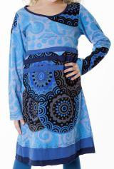 Robe ethnique à col rond pour enfant de couleur bleu 287197