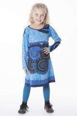 Robe ethnique à col rond pour enfant de couleur bleu 287198