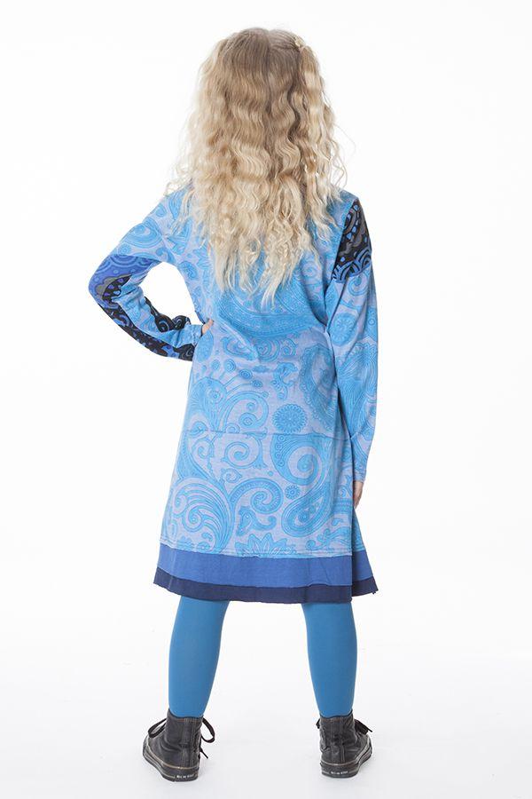 Robe ethnique à col rond pour enfant de couleur bleu 287199