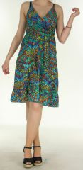 Robe Ethnique à fines bretelles Rosita Turquoise 297057