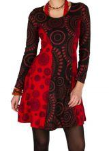 Robe ethnique à manches longues et broderies en coton rouge et noire Stéphanie 300911