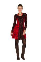 Robe ethnique à manches longues et broderies en coton rouge et noire Stéphanie 300912