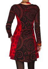 Robe ethnique à manches longues et broderies en coton rouge et noire Stéphanie 300913