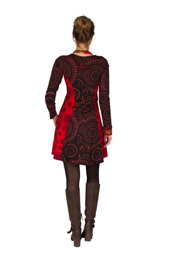 Robe ethnique à manches longues et broderies en coton rouge et noire Stéphanie 300914