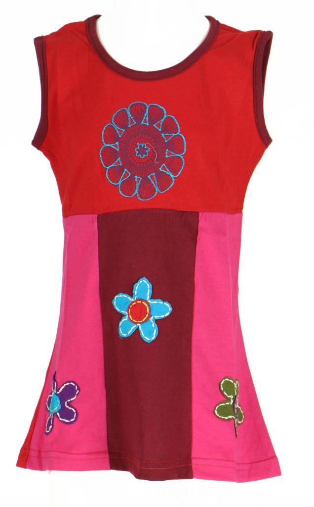Robe ethnique bébé et enfant rouge Flower 270971