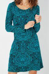 Robe ethnique bleue manches longues col arrondi Noée 287902