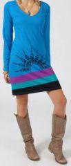 Robe ethnique bleue tunique originale pas chère Mia