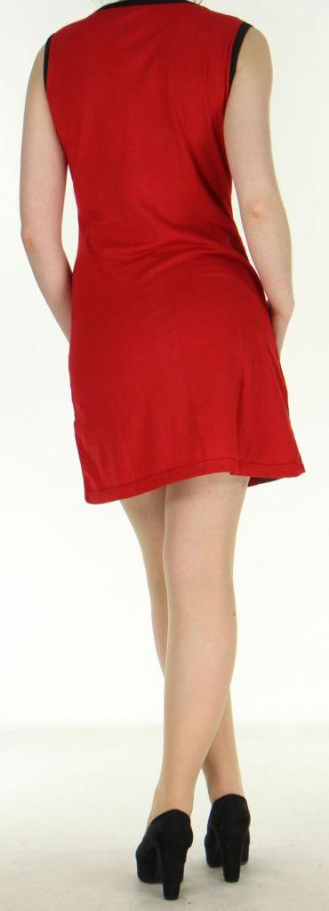 Robe ethnique-chic d'été pas chère rouge Amandine 270565