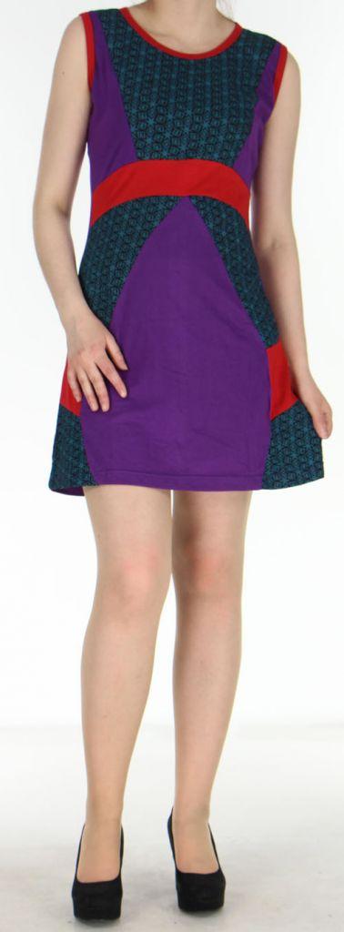Robe ethnique-chic d'été pas chère violette Amandine 270562