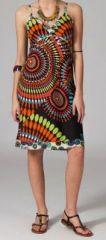 Robe ethnique chic noire et orange Elsa 269673