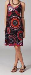 Robe ethnique chic noire et rouge Elsa 269671