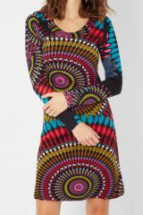 Robe ethnique colorée à manches longues et au col arrondi Maysa 287908