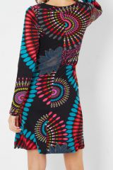 Robe ethnique colorée à manches longues et au col arrondi Maysa 287909