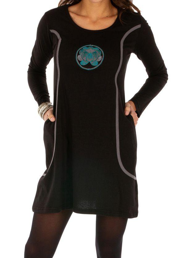 Robe ethnique courte noire à poches et broderies Oyem 312686