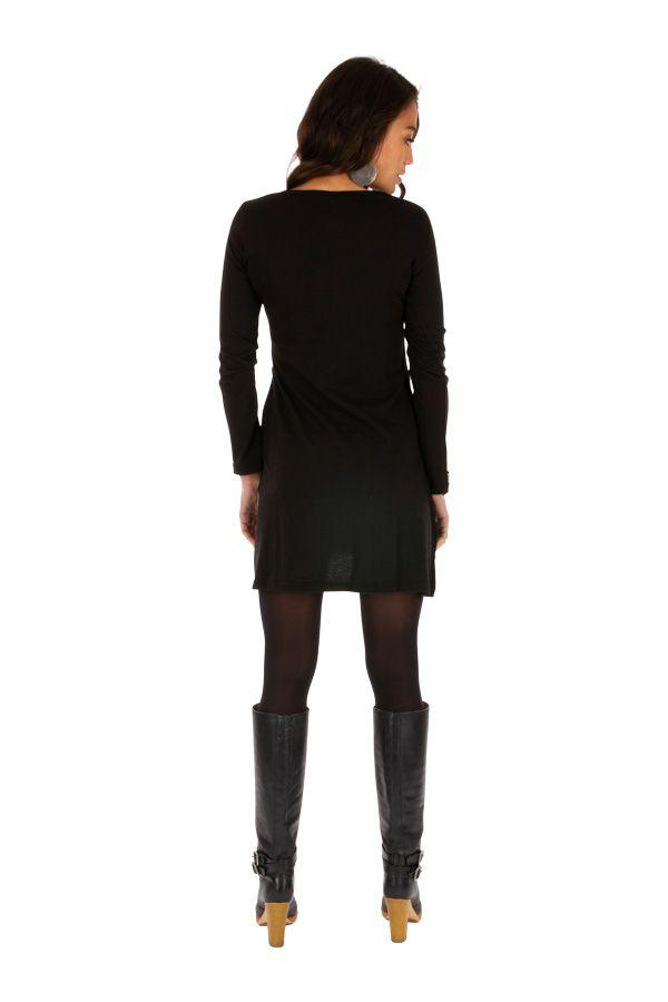 Robe ethnique courte noire à poches et broderies Oyem 312688