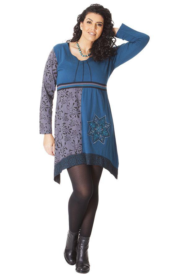 Robe Ethnique en Grande taille Asymétrique Saige Bleue 286084