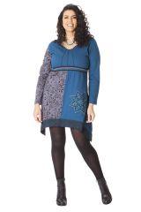 Robe Ethnique en Grande taille Asymétrique Saige Bleue 286085