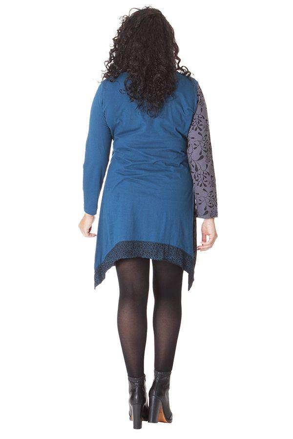 Robe Ethnique en Grande taille Asymétrique Saige Bleue 286086