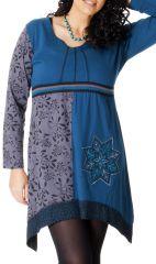 Robe Ethnique en Grande taille Asymétrique Saige Bleue 286968