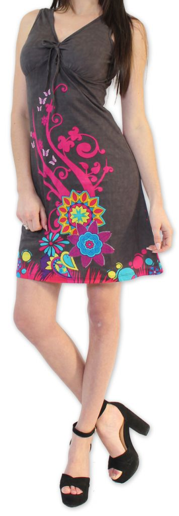 Robe Ethnique et Colorée d'été à col V  Elenna Grise 276935