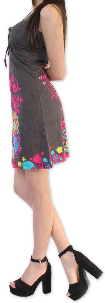 Robe Ethnique et Colorée d'été à col V  Elenna Grise 276936