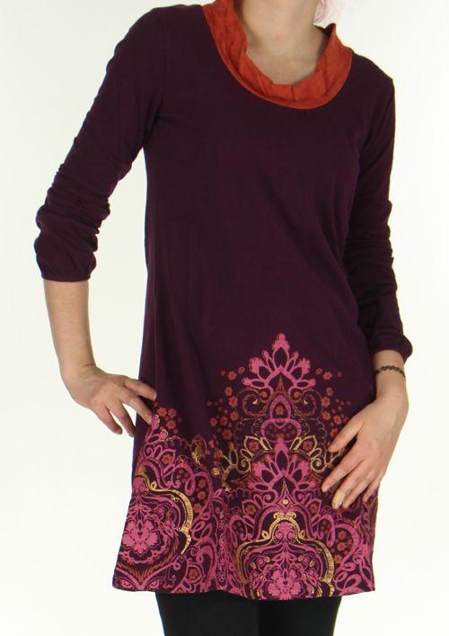 Robe Ethnique et Originale à manches longues Tesmine Prune 276383