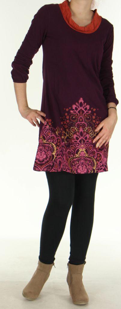 Robe Ethnique et Originale à manches longues Tesmine Prune 276384