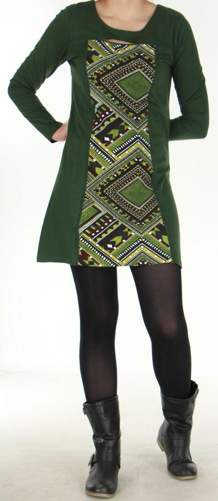 Robe Ethnique et Originale idéale pour Soirée Angie Kaki 278981