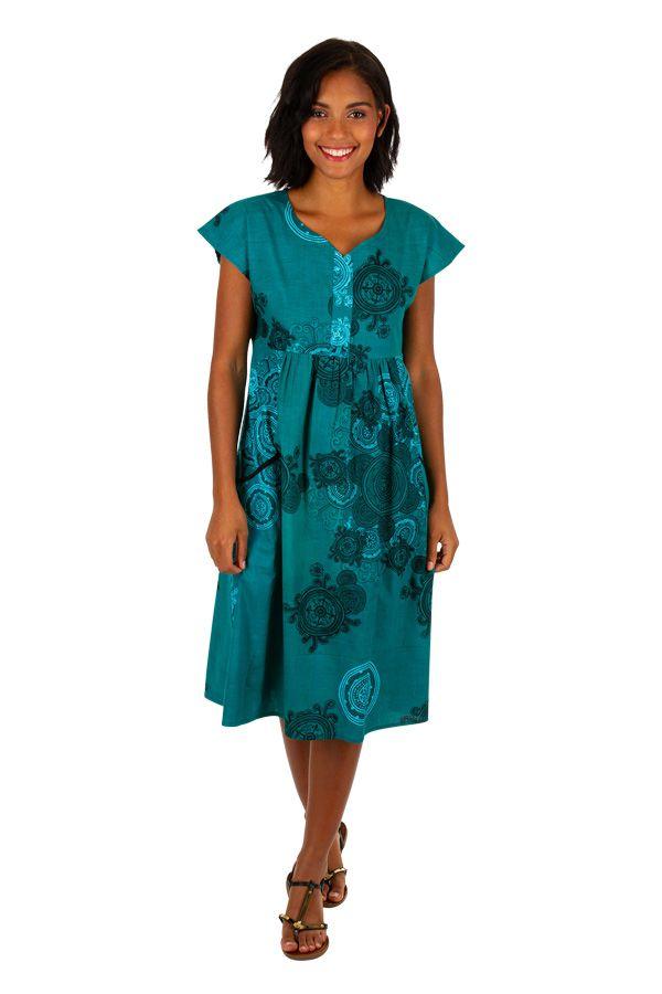 Robe ethnique et originale mi-longue plissée au devant Melisande