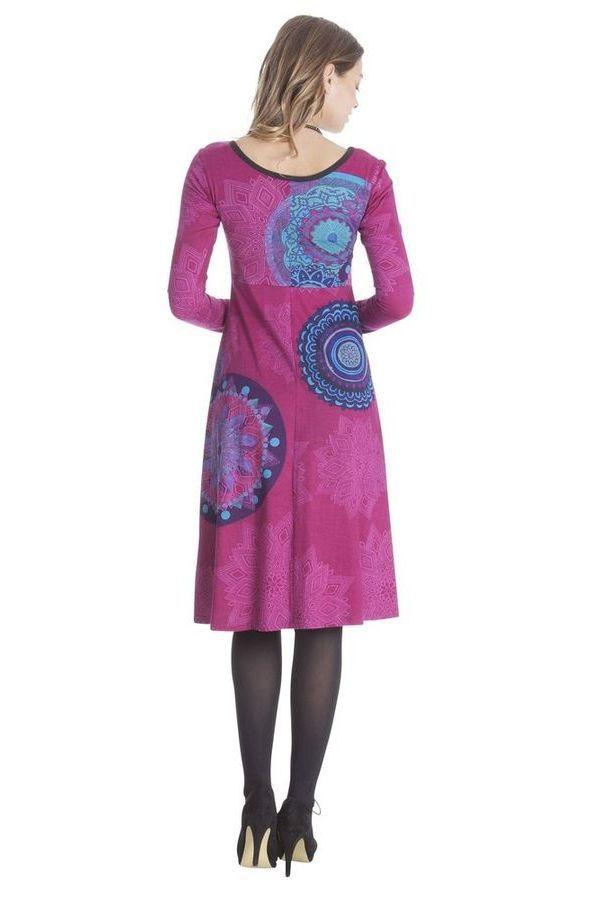 Robe Ethnique et Originale mi-longue Tiphaine Rose 285403