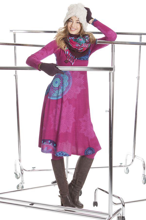 Robe Ethnique et Originale mi-longue Tiphaine Rose 285404