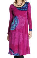 Robe Ethnique et Originale mi-longue Tiphaine Rose 286638