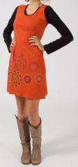 Robe ethnique et originale orange pas chère Leanne