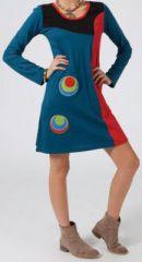 Robe ethnique et originale pas chère Bleue Marianne