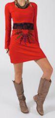 Robe ethnique et originale pas chère rouge Mirzat 274407