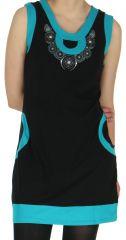 Robe Ethnique et Originale sans manches Angélina Turquoise 279005