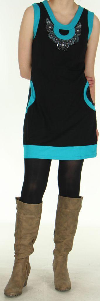 Robe Ethnique et Originale sans manches Angélina Turquoise 279006