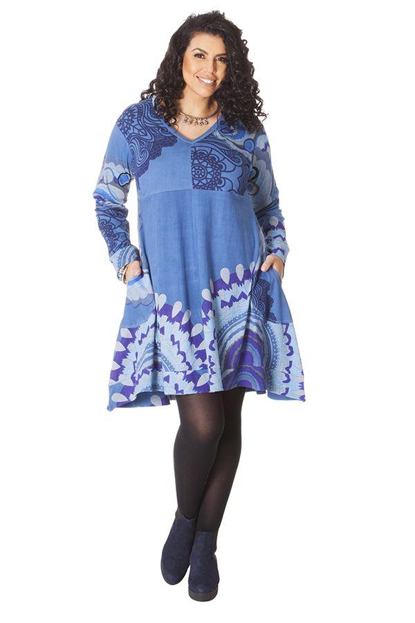 Robe Ethnique Grande taille Bleue Evasée et Imprimée Lola 286277