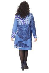 Robe Ethnique Grande taille Bleue Evasée et Imprimée Lola 286278