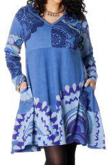 Robe Ethnique Grande taille Bleue Evasée et Imprimée Lola 286693