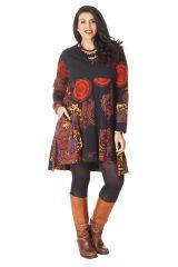Robe Ethnique Grande taille Evasée et Imprimée Lola Noire 286275